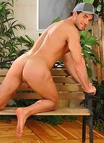 Hot brunette muscle man shois his shaved cock