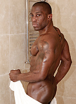 Hot ebony athlete Don at the shower room