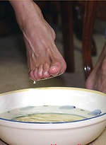 Marcello moisturizing his sexy feet with some warm cum