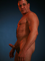 Hot old gay Luc Anders squeezes his penis